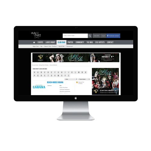Events Listing Website design Services