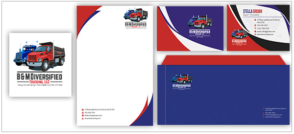 B&M Trucking Logo Stationery Design